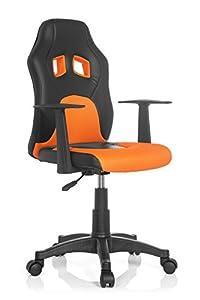 hjh OFFICE TEEN GAME AL Silla Infantil, Tela, Multicolor (Negro/Naranja), 41x51x103 cm