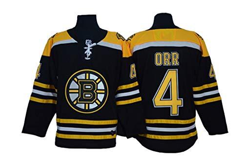 Gmjay Bobby Orr # 4 Hockey Trikot Boston Bruins Hockey Schwarz Genähte Buchstaben Zahlen NHL Langes Eishockey Trikot,M