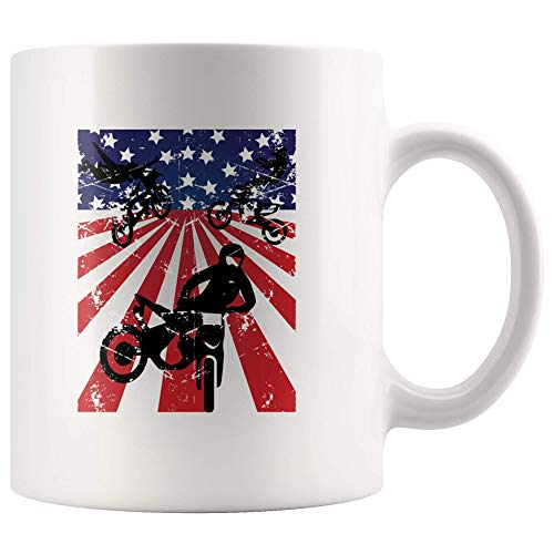 Dirt Bike Mug 4th of July American Flag Ceramic Coffee Tea Cup Distressed Dirt Bike Graphic Motocross Best Gift for Riders Motorcycle Racing White 11OZ