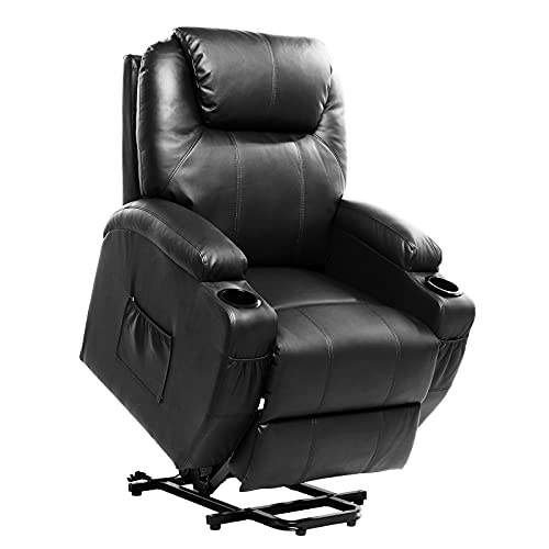 Living Room Power Lift Massage Recliner Chair for Elderly PU Leather Heated Recliner Ergonomic Lounge Vibratory Massage Function with Cup Holders/Heating/Remote Control