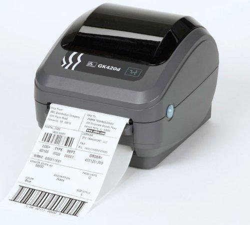 Zebra GK420d - Thermodirekt Etikettendrucker -mit Peeler - Seriell (RS232) & USB & Ethernet Schnittstelle - Dispenser - inkl. Netzteil