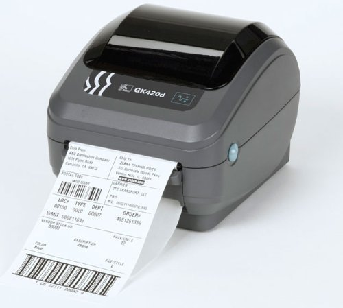 Zebra GK420d Direct Thermal Printer. 203dpi 8 dot, print width 104 mm, USB/seriaal/parallelle connectiviteit, ZPL ZPL II, voeding met UK/European Cords met USB-poort