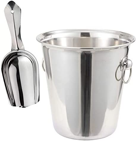 Tiger Chef 4 Quart Stainless Steel Wine Bucket And 6 Oz Scoop Set Champagne Bucket Wine Chiller product image