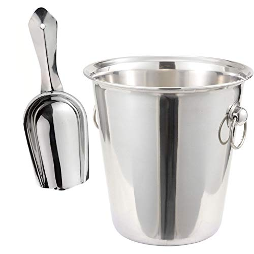Tiger Chef 4 Quart Stainless Steel Wine Bucket And 6 Oz Scoop Set  Champagne Bucket Wine Chiller Bucket Wine Bottle Chiller Wine Cooler Bucket Ice Buckets For Parties Beer Bucket Beverage Tub Ice Tub