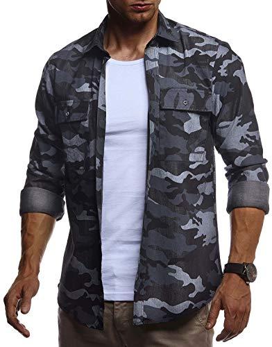 Leif Nelson Herren Hemd Freizeithemd T-Shirt Langarm 100% Baumwolle Männer Langarmshirt Oversize Jeanshemd Jungen Basic Shirt Kurzarmshirt Camouflage Sommerhemd LN3850 Schwarz Large