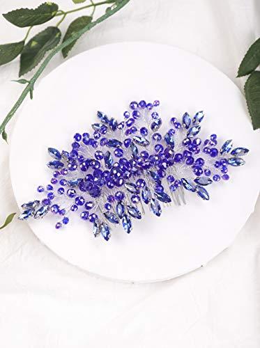 Aimimier Bridal Sapphire Hair Comb Royal Blue Crystal Hair Piece Wedding Hair Accessories for Women and Girls (Blue)