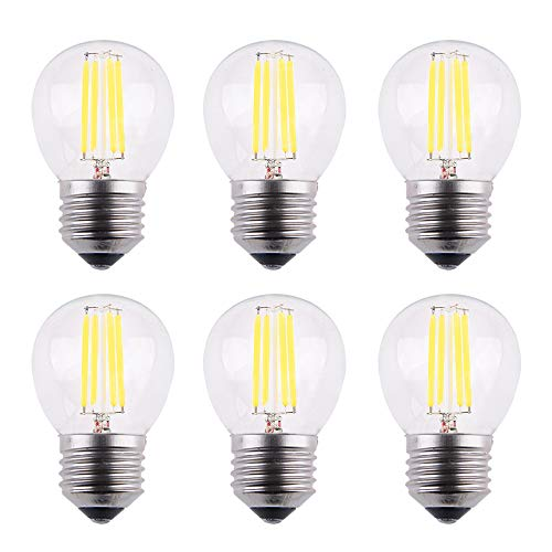 OPALRAY Dimmable A15 Edison Style Globe Bulb, 4W 400LM LED Filament Tungsten Bulb, Clear Glass Cover, E26 Base, 4000K Natural White Daylight, 40W Incandescent Replacement, Pack of 6