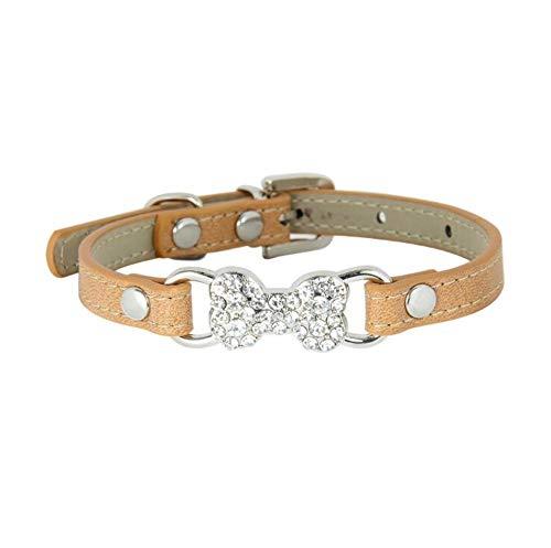 DLFALG Pet Forniture zomeraccessoires met strass-steentjes, halsband van Compagnia Sport aan de open lucht comfortabel beige S