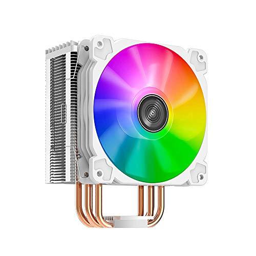 JDH Enfriador de CPU RGB, Ventilador enfriamiento silencioso para PC Escritorio 12 V con 4 heatpipes Contacto Directo, Ventilador LED, enfriamiento Aire computadora, 4 heatpipes,Enfriador CPU