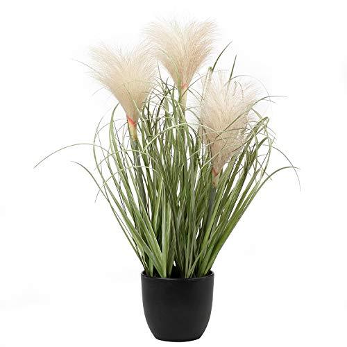 Briful Künstliches Pampasgras Grasbusch Decorative Kunstpflanze Kunstgras Dekogras Dekopflanze Ziergras im Schwarzen Kunststofftopf