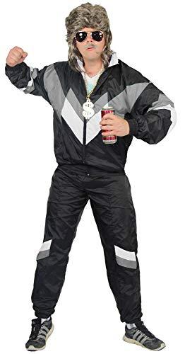 jaren '80 trainingspak kostuum voor mannen - zwart grijs wit - maat S-XXXXL - Joggingbroek Assi, maat:L