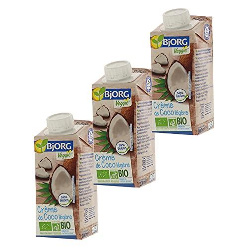 Bjorg Crème de Coco Légère Bio – Allégée en matières grasses – Sans gluten - 3 x 200 ml
