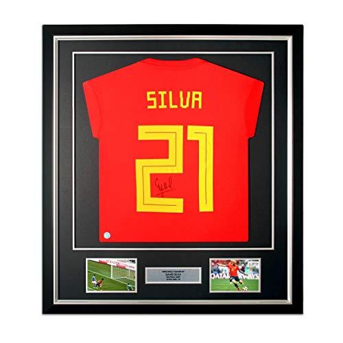 exclusivememorabilia.com Camiseta de fútbol de España 2018-19 firmada por David Silva. Enmarcado