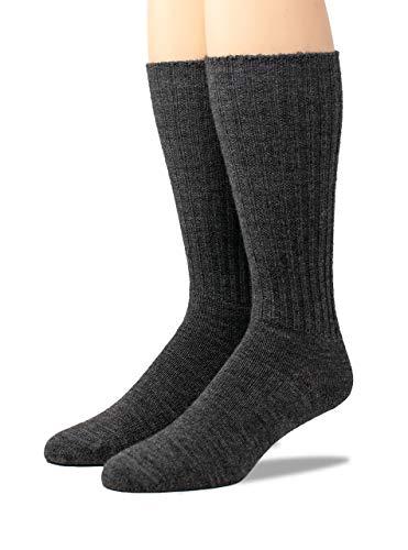 Warrior Alpaca Socks - Men's Ribbed Everyday Alpaca Wool Crew Socks (Charcoal Large)