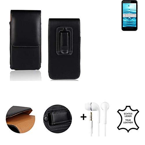 K-S-Trade® Leder Gürtel Tasche + Kopfhörer Für Energizer Hardcase H500S Seitentasche Belt Pouch Handy-Hülle Gürteltasche Schutz-Hülle Etui Schwarz 1x