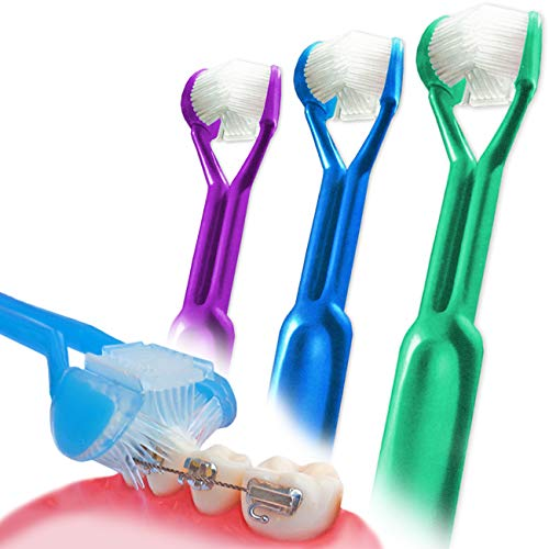 3-PK :: Dentrust 3-Sided Braces Toothbrush :: Clinically Proven Better for Orthodontic's :: Easily Cleans Around Brackets :: Rubber Bands Bracket :: Archwire Retainer Headgear Decalcification
