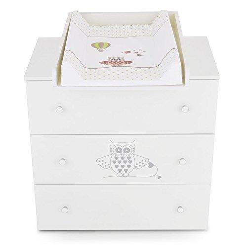 Commode à langer bébé enfant Table à langer + Matelas à langer amovible - 3 tiroirs hibou vert Matériel de Haute Qualité