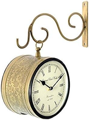 RoyalsCart Iron Double Sided Railway Station/Platform Analog Wall Clock (20 cm X 11 cm X 20 cm, Gold)
