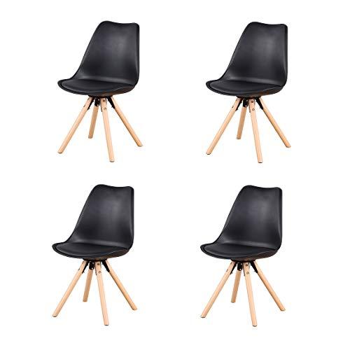 Moderner Esszimmerstuhl aus Kunststoff, Esszimmerstuhl aus Buchenholz, gepolstert, Leder, 8 Stück