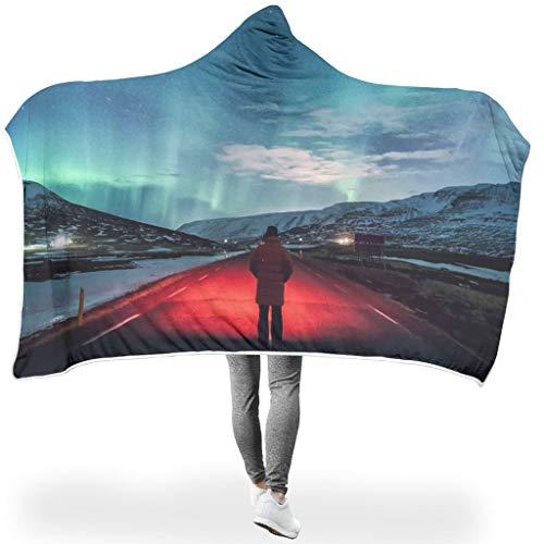LAOAYI ThemeWearable Tapisserie Hooded Blanket Bequemes Microfaser Schlafdecke Computer Werfen Decken Für Erwachsene White 130x150cm