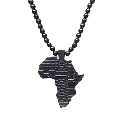Veuer Schwarz Damen u. Herren Schmuck.Africa Perlen Hals-Kette, Land-Karte Afrika aus Holz