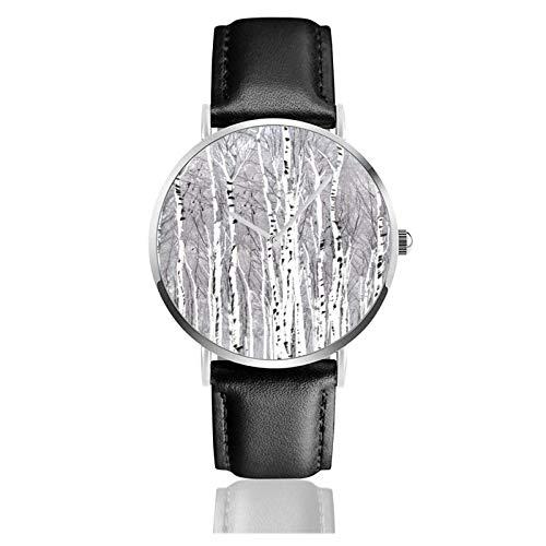 Reloj de abedul con movimiento de cuarzo, correa de reloj de cuero...