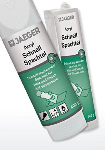 Jaeger Acryl Schnellspachtel, Fleck- und Flächenspachtel, weiss (540 g Kartusche)