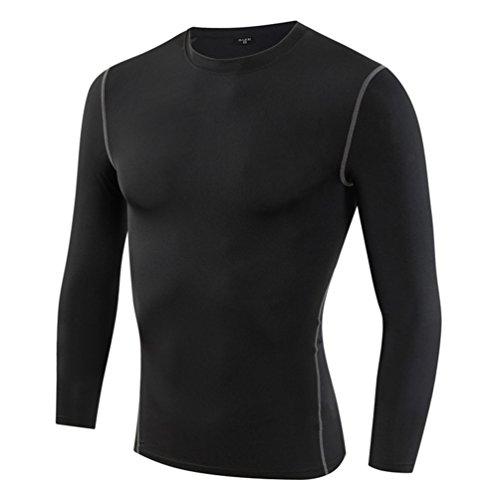 YiJee Herren Cool Compression Longsleeve Tee Shirt Kompressionsshirt Schwarz 3XL