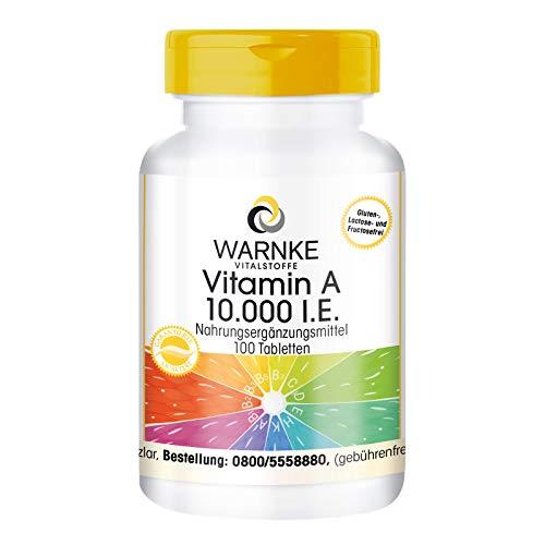 Vitamin A 10.000 I.E - 3000µg Retinol (Retinylacetat) pro Tablette - hochdosiert & vegan - 100 Tabletten