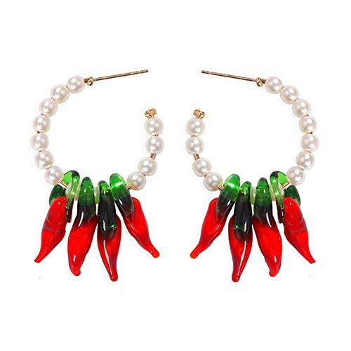 TIANYOU Pendientes Colgantes de Pimiento Rojo Pendientes Hechos a Mano de Perla Imitada en Forma