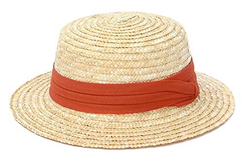 EOZY Unisex Kinder Stroh Sonnenhut Jungen Mädchen Sommer Strand Panama Hut Rot