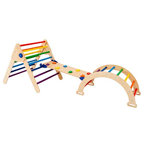 Set of 3 Triangle for Kids Toddlers Rock with ramp - Montessori Climber Ladder Slide - Learning Waldorf Climbing Arch Toy for...
