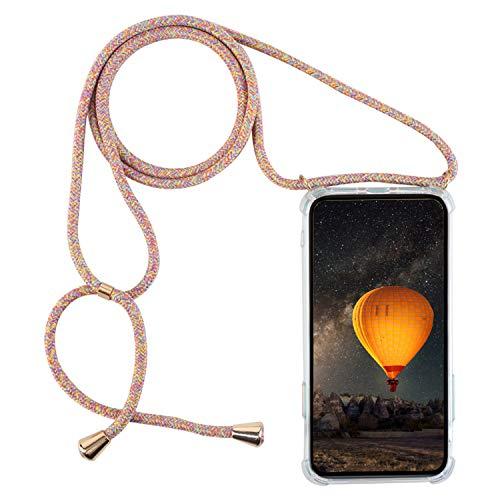 mvced Funda para Samsung Galaxy J4Plus/J6Plus/J610/J415 Transparente de TPU-con Cordon para Lleva Case con Correa Colgante Ajustable Collar Correa de Cuello Cadena.
