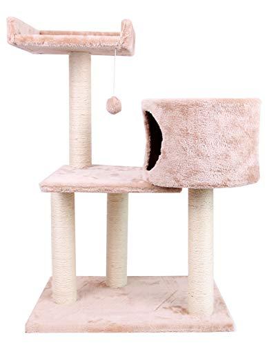 Zoofari Kratzbaum mit Plattform und Plüschhöhlen Spielhaus, Kletterbaum für Katzen