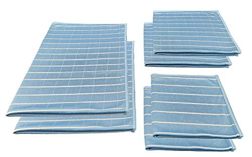 Aqua Laser Diamant Bambus Mikrofaser Glas- Fenstertucher Poliertuch streifenfrei aus Viskose-Bambusfasern 6-TLG. (blau)