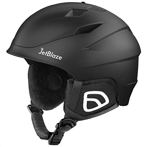 JetBlaze Ski Helmet, Snowboard Helmet, Snow Helmet for Men Women Youth (Black, M)