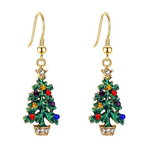 EVER FAITH Orecchini Ragazza Regalo di festa Muiticolore Cristallo Verde Smalto Albero di Natale Stella Orecchini a cerchio Oro-fondo