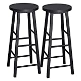 WOLTU BH130sz-2 Lot de 2 Tabourets de Bar Tabouret de Bistrot Structure en Acier Stable et Durable Surface d'assise en MDF,Noir