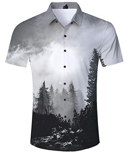 TUONROAD Camisa Hawaiana Hombre 3D Camisas de Playa Manga Corta Verano Casual Camisas Niños XL