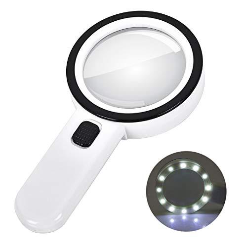 30X Lupe mit 12 Led Licht, Handlupe Beleuchtete Leselupen Lupe Gläser Doppel Glas Objektiv zum Lesen, Inspektion, Exploring, Schmuck und Hobbys, Handwerk, Senioren Lesebuch