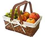 Picnic Basket Natural Woven Bamboo with Folding Handle | Easter Basket | Storage of Plastic Easter Eggs and Easter Candy | Organizer Blanket Storage | Bath Toy and Kids Toy Storage