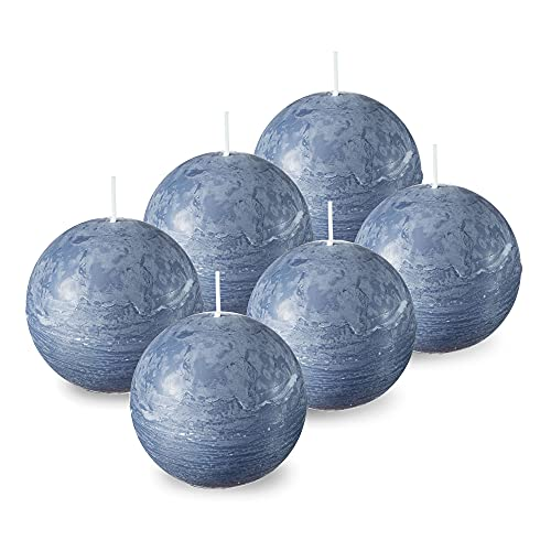 SPAAS Grey Blue Round Candles - 3 Inch Rustic Ball Candles for Wedding Decoration, Celebrations, Holiday Candles, and Home Decor - Set of 6 Paraffin Sphere Candles