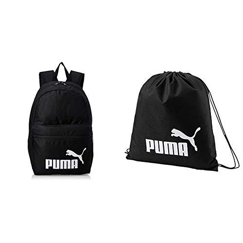 Puma Unisex-Adult Phase Backpack rucksack, Black, OSFA & Unisex-Adult Phase Gym Sack Turnbeutel, Black, One size