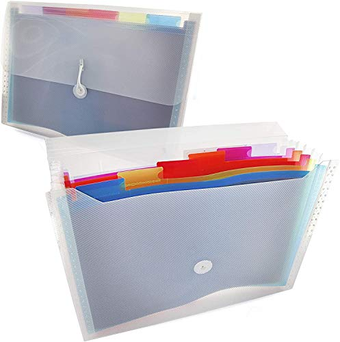 Rainbow 7-Pocket Letter Size Poly Expanding File High Capacity Plastic Business Portable Accordion File Bag Folder Office Organizer for Receipts and Checks Pack of 2 - by Emraw