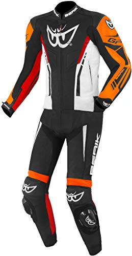 Berik Monza 2-Teiler Motorrad Lederkombi Schwarz/Weiß/Rot/Orange 52