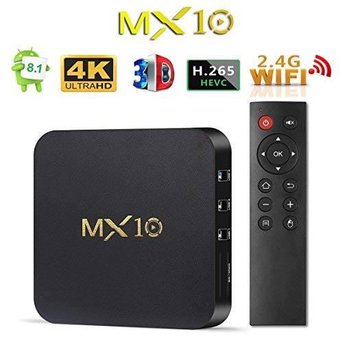 Android TV BOX 8.1, 2018 Newest MX10 Android Box with 4GB RAM 32GB ROM Quad-Core Support 2.4G WiFi/3D/4K/H.265 Smart TV Box