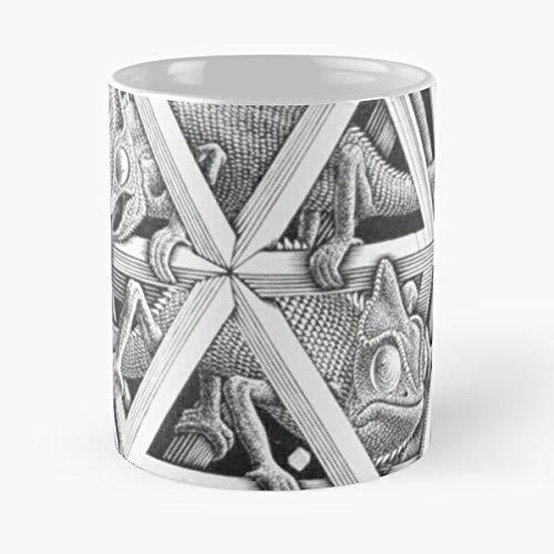 Halftone Godel Bach Lizard Escher Hofstadter Paradox Illusion La mejor taza de café de cerámica blanca de 11 oz