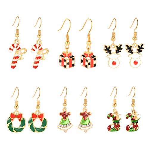 Holibanna 6 paar weihnachtsschmuck baumeln ohrringe festliche ohrentropfen strümpfe elch legierung oder frauen mädchen damen