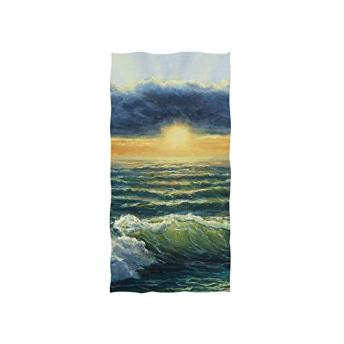 Alaza, toalla de microfibra para gimnasio, playa, puesta de sol, pintura al óleo, secado rápido, deportes, fitness, sudor, toalla facial, 38 x 76 cm