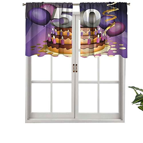 Hiiiman Cortinas cortas, cenefa de protección de privacidad, pastel cremoso con muchas velas números, globos cintas, juego de 1, 132 x 45 cm, cortinas de ventana para baño, cocina, sala de estar